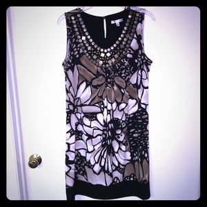 Black and brown floral sleeveless dress